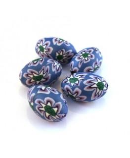 Perle fimo ovale bleu x5