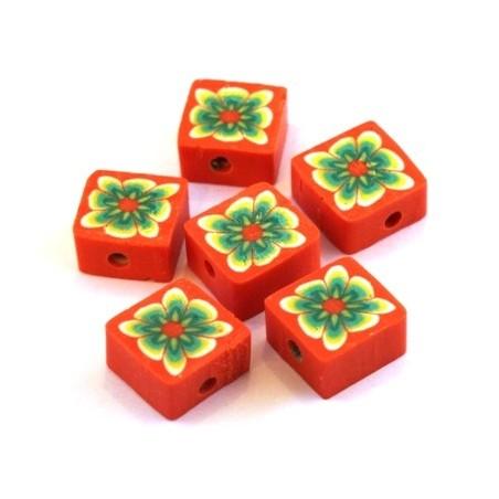 Perles fimo carrées orange x10