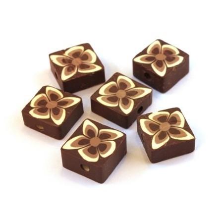 Perles fimo carrées marron x10