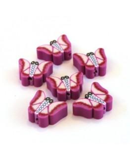 Perles fimo papillon violet x10