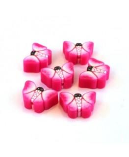 Perles fimo papillon rose vif x10