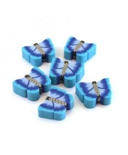 Perles fimo papillon bleu x10