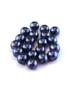 Perles verre nacrées 6mm bleu foncé