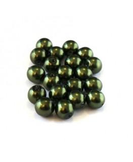 Perles verre nacrées 6mm vert foncé