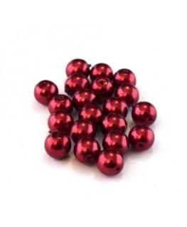 Perles verre nacrées 6mm rouge