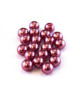 Perles verre nacrées 6mm fuchsia
