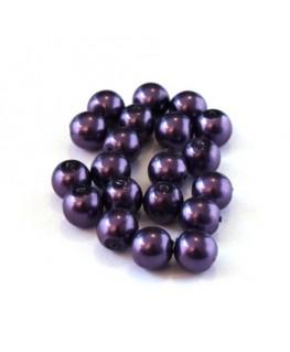 Perles verre nacrées 6mm violet