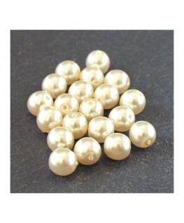 Perles verre nacrées 6mm champagne