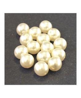 Perles en verre nacrées 8mm ivoire