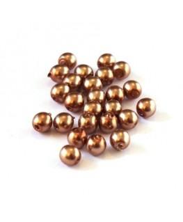 Perles en verre nacrées 4mm café au lait