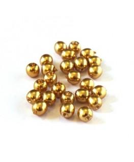 Perles en verre nacrées 4mm or