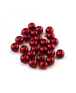 Perles en verre nacrées 4mm rouge