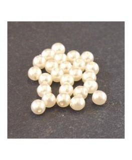 Perles en verre nacrées 4mm ivoire