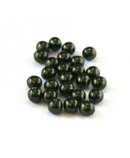 Perles en verre nacrées 4mm vert foncé