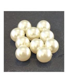 Perles verre nacrées 10mm ivoire
