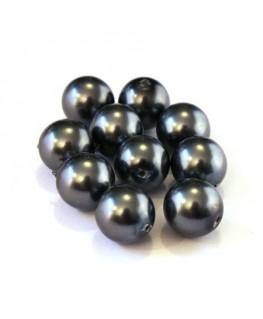 Perles verre nacrées 10mm gris foncé