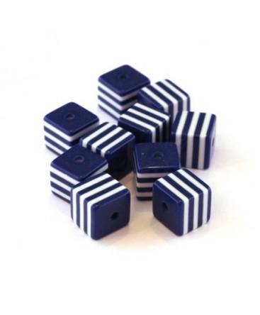 Perle cube rayée 8mm bleu foncé x10