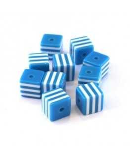 Perle cube rayée 8mm bleu turquoise x10