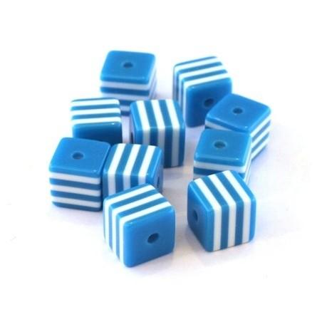 Perle cube rayée 8mm bleu turquoise x10