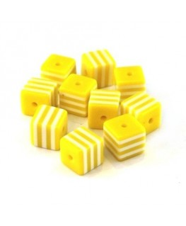 Perle cube rayée 8mm jaune x10