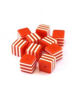 Perle cube rayée 8mm orange x10