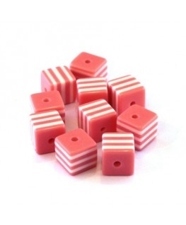 Perle cube rayée 8mm rose x10