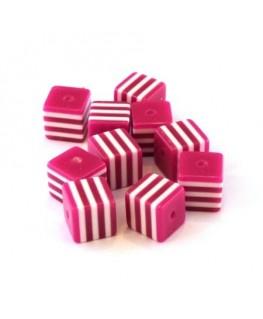 Perle cube rayée 8mm magenta x10