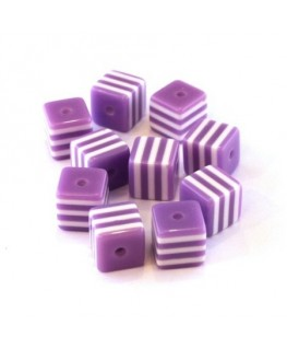 Perle cube rayée 8mm lilas x10