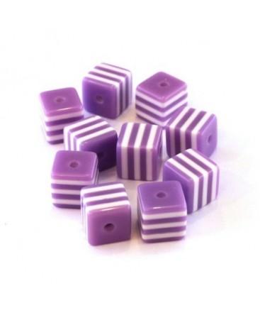 Perle cube rayée 8mm lilas x10