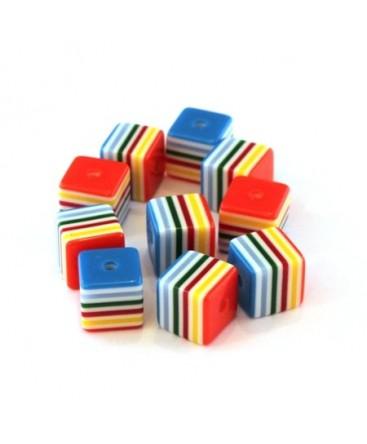 Perle cube rayée 8mm multicolore x10