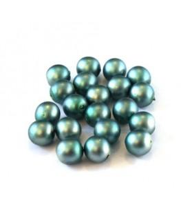 Perles nacrées givrées 6mm bleu canard