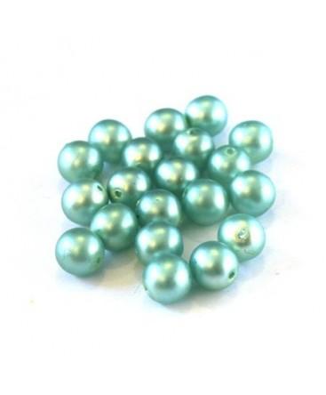 Perles nacrées givrées 6mm vert d'eau