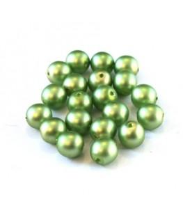 Perles nacrées givrées 6mm pistache