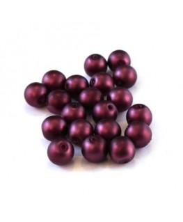 Perles nacrées givrées 6mm prune