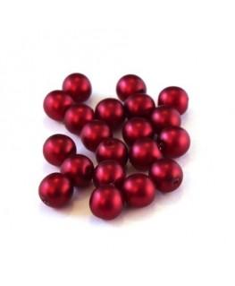 Perles nacrées givrées 6mm rouge