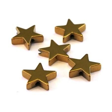 Perles hématite étoiles doré 10mm