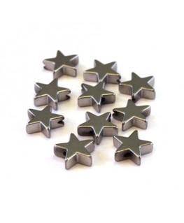 Perles hématite étoiles argent 8mm