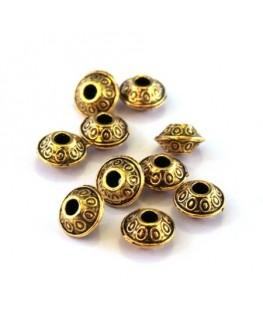 Perle intercalaire rondelle soucoupe doré 6mm