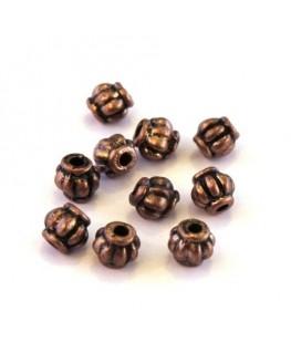 Perle métal striée 4mm cuivre