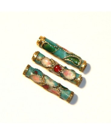 6 TUBES CLOISONNES 16MM TURQUOISE