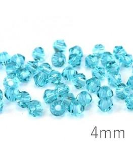 Perle toupie verre 4mm aquamarine