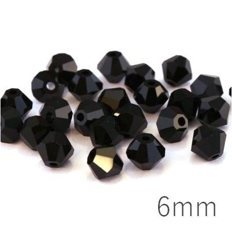 Perle toupie verre 6mm noir