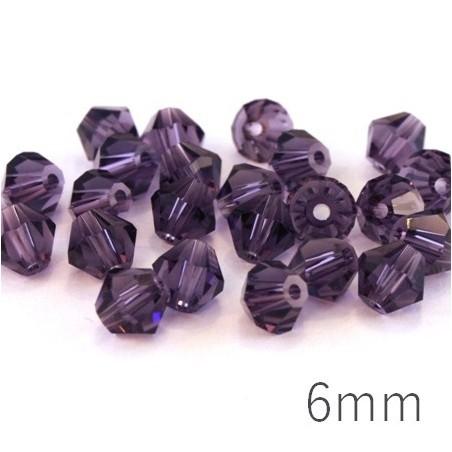 Perle toupie verre 6mm violet