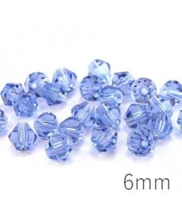 Perle toupie verre 6mm bleu clair