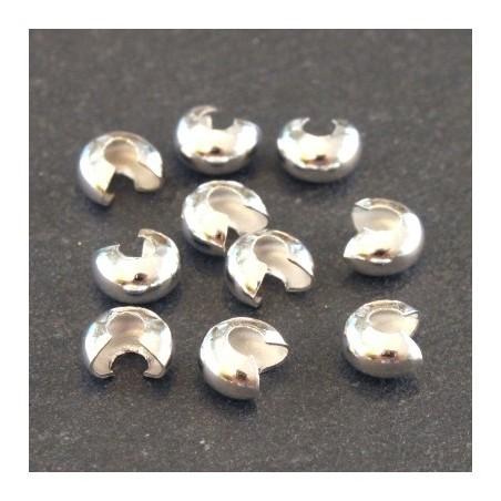 Caches perles à écraser 4mm argenté