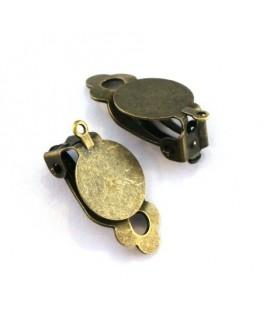Attaches boucles d'oreilles clip plateau 12mm bronze
