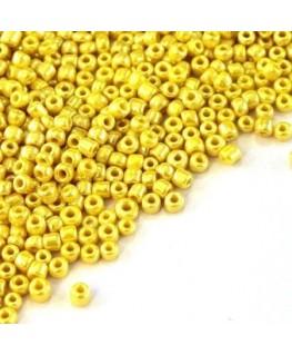 Perles de rocailles 2mm jaune nacré lustré