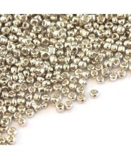 Perles de rocailles 2mm argent métallisé