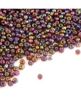 Perles de rocailles 2mm prune irisé