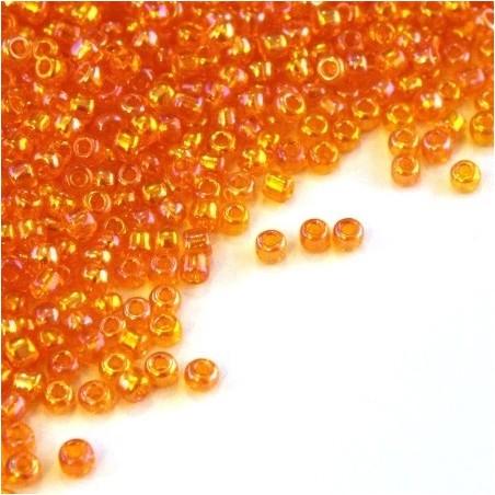 Perles de rocailles 2mm orange irisé